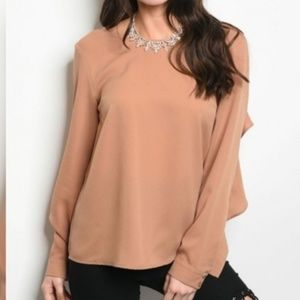 Tops - Longsleeve Chiffon Dressy Top with Ruffles
